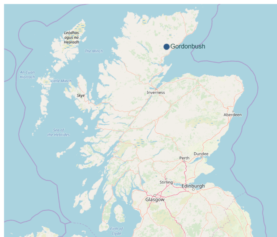 map showing location of Gordonbush wind farm in Scotland